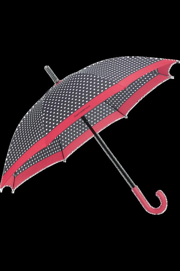 Samsonite R-Pattern Stick Umbrella  Black/White Dots/Rose Red