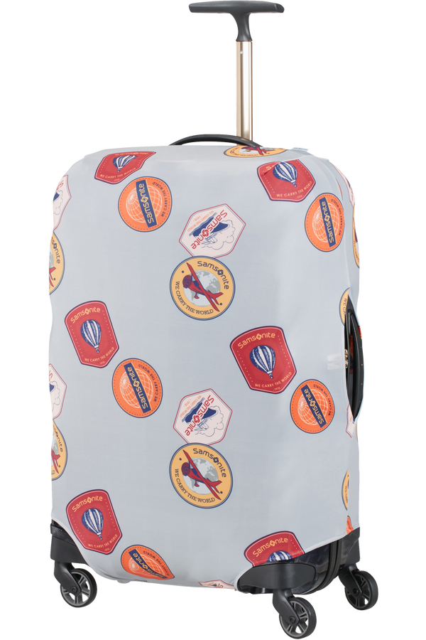 Samsonite Global Ta Lycra Luggage Cover M  Heritage Patches